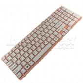 Tastatura Laptop Sony Vaio SVE151G13M alba cu rama roz