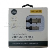 CABLU DE INCARCARE USB MICRO USB NEGRU 3 METRI