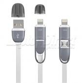 CABLU DE DATE 2 IN 1 MUFA MICRO USB / LIGHTNING 8 PINI ALB
